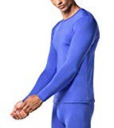 LAPASA Camiseta Térmica, Pack de 2 Manga Larga para Hombre. -Brushed Back Fabric Technique- M09 (S (Largo 66, Manga 56, Pecho 89-94 cm), Classic Blue (Azul))