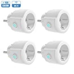 Enchufe Inteligente WiFi, Koogeek Mini Smart Plug, Control Remoto de Voz Funciona con Alexa/Google Assistant, Temporizador APP No Se Requiere Hub, IOS y Android 2.4GHz WIFI 16A (4 Packs)