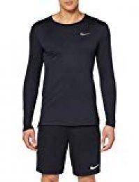 Nike M NK Dry Top LS Slim Long Sleeved t-Shirt, Hombre, Negro (Black/Dark Grey), L