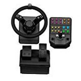 Logitech G Heavy Equipment Bundle - Farm Simulator, Segunda generación, mando de volante para Farm Simulation 19 (o anteriores), volante, pedales, consola de control de panel lateral para PC / PS4
