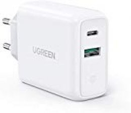 UGREEN 36W Cargador USB Pared con USB C Power Delivery 3.0 y QC 3.0, Cargador USB C de Carga Rapido 18W para iPhone 11, XR, XS, 8, 8 Plus, Soporte QC 4.0, QC 3.0 para Xiaomi Redmi Note 8