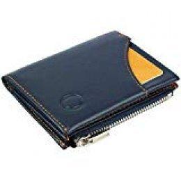 Cartera Inteligente con Monedero – Mini Billetera Hecha de Cuero Auténtico con Protección RFID, para Hombre y Mujer, Billetera Inteligente y portatarjetas