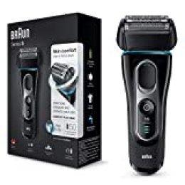 Braun Series 5 5147 s -  Afeitadora eléctrica hombre, Afeitadora Barba, en Húmedo y Seco, Recortadora de Precisión Extraíble, Recargable e Inalámbrica, Negro/Azul/Cromo