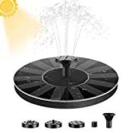 E-More Solar Fuente Bomba 1.4W Fuente Solar Jardín Solar Panel Flotador Fuente, Bomba Estanque Solar con 4 boquillas Ideal para Pequeño Estanque, Piscina Estanque, Fish Tank, Decoración del Jardín