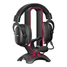 Mars Gaming MHHPRO, soporte gaming 3en1: soporte cascos, bungee ratón, HUB 2 USB