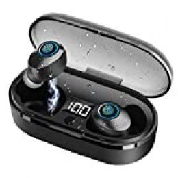 Ynigimy Auriculares Bluetooth, True Wireless Earbuds Impermeable Auriculares Inalámbricos Bluetooth 5.0 In-Ear, Correr con Micrófono, Cancelación de Ruido Gimnasio,Viajes,Deporte