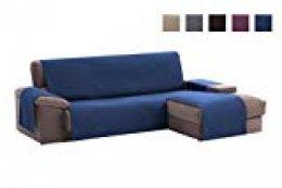 textil-home Funda Cubre Sofá Chaise Longue Adele, Protector para Sofás Acolchado Brazo Derecho. Tamaño -200cm. Color Azul (Visto DE Frente)