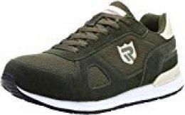 Zapatos de Seguridad para Hombre con Puntera de Acero Zapatillas de Seguridad Trabajo, Calzado de Industrial y Deportiva LM-123k Verde 42 EU