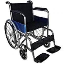Mobiclinic, Alcázar, Silla de ruedas plegable, ortopédica, para minusválidos, manual, freno en manetas, reposabrazos fijos y reposapiés abatibles, asiento, ultraligera, color negro