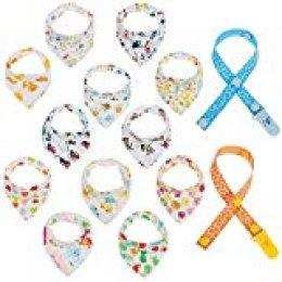 Lictin 12 pcs baberos Bufanda triángulo para bebés y niños pequeños con 2 Chupete de cadena clips para 6 meses a 3 años bebés