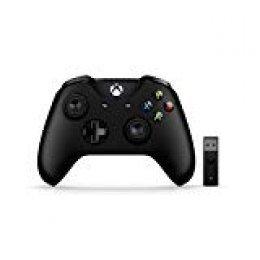 Microsoft - Mando Xbox + Adaptador Inalámbrico Gamepad PC, Xbox One Negro