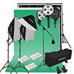 CRAPHY Kit de Iluminación 2400W: 3X Ventana de Luz, 3X Fondos (Croma Verde, Blanco, Negro), 1x Soporte de Fondo, 12x Bombilla 45W, 2X Trípode de Luz, 1x Soporte Jirafa, 2X Bolsa Portátil