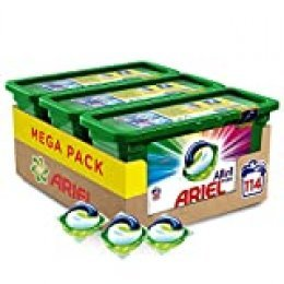 Ariel Allin1 PODS Color Detergente en cápsulas superconcentrado: limpia y mantiene el brillo del color - 114 lavados (3 x 38)