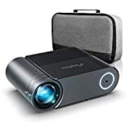 Proyector, Elephas Mini proyector Full HD 5500 Lumen , proyector portatil Cine en casa de 200 Pulgadas 1080P Compatible con PS4, PC a través de HDMI, VGA, TF, AV y USB (con Bolsa) (Black)