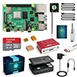 LABISTS Raspberry Pi 4 4 GB Kit Incluido Tarjeta SD de 64GB Precargada con Raspberry Pi OS, 5.1V 3A Tipo C con On/Off, Micro HDMI, 3 Disipadores de Calor, Ventilador, Lector de Tarjetas y Caja Negra