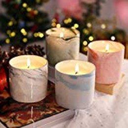 LANGRIA Set de velas perfumadas en taza de cerámica veteada, 7,4 oz de velas de cera de soja natural Fragancia Regalos de Navidad para rosa, lavanda y gardenia blanca (4 piezas)