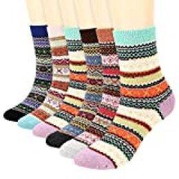 Fixget 6 pares de calcetines cálidos de invierno, calcetines gruesos de punto de estilo vintage, calcetines cómodos y gruesos para adultos