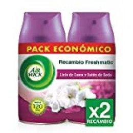 Air Wick Freshmatic - Recambios de ambientador spray automático, esencia para casa con aroma a Lirio de Luna y Satén de Seda - pack de 2