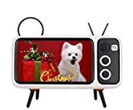 Bewinner PTH-800 Altavoz Bluetooth Retro con Forma de TV con Soporte, Altavoz con Altavoz Estéreo Bluetooth de Sonido HD para teléfonos móviles de Menos de 6 Pulgadas - Películas y audición(Naranja)