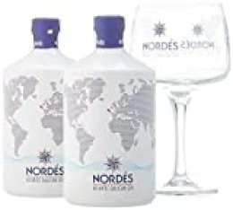 Nordés Atlantic Galician Gin - Pack de 2 botellas de 70 cl + 6 Copas