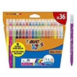 BIC Kids Kid Couleur rotuladores punta media - colores Surtidos, Estuche de 36 unidades