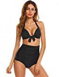 Swiftt Bikini Alta Cintura Cuello Alto Deep v Bikiini Grande Mujer(S,M,L,XL,XXL,XXXL) Pajarita 2 Piezas Push Up Traje De Baño