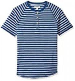 Marca Amazon - Goodthreads - Camiseta de manga corta y cuello Henley de color añil para hombre