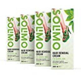 Marca Amazon - Solimo -  Crema depilatoria para pieles normales con aroma de naranja verde y extracto de té verde ecológico, Pack de 4 (4 unidades x 200 ml)