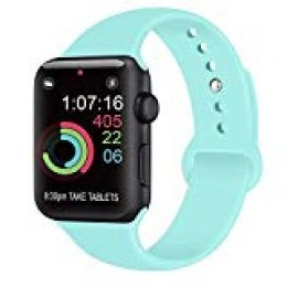 AK Compatible con para Apple Watch Correa 42mm 38mm 44mm 40mm, Silicona Blanda Deporte Reemplazo Correas Compatible con para iWatch Series 4, Series 3, Series 2, Series 1 (06 Light Blue, 42/44mm S/M)