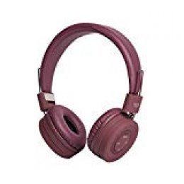 Vieta pro Smartness - Auricular inalámbrico de Diadema, con Bluetooth, Radio FM, función Manos Libres, insonorización Reforzada, Plegables y 8 Horas de autonomía. Acabados en Goma y Color Burdeos.
