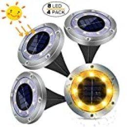 Luces Solares Exterior Jardin 8LED 4pcs 100LM, Impermeable IP65 Solar Luz Blanca Cálida Focos Solares Suelo Decoracion Jardin Solar iluminacion Exterior Solar lámpara Solar para Terraza Camino Césped