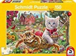 Schmidt Spiele- Puzzle Infantil (150 Piezas), diseño de Gatitos en el jardín (56289)