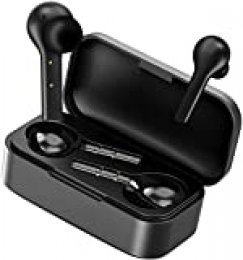 Auriculares Bluetooth, HOMSCAM Impermeable Auriculares Inalámbricos Bluetooth 5.0 QCY HiFi Mini Twins Estéreo In-Ear Bluetooth con Caja de Carga Portátil para iPhone y Android