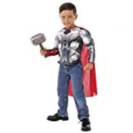 Avengers - Disfraz de Thor para niños, pecho musculoso y martillo, infantil 5-7 años (Rubie's 34104)