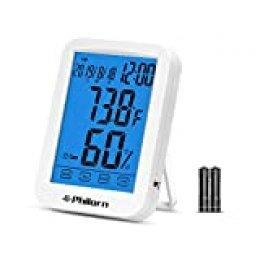 """PHILORN Termómetro Higrometro Digital para Interior [4.4"""" Pantalla Táctil Grande], Termohigrómetro Profesional, Medidor de Humedad Temperatura, con Luz de Fondo, Nivel de Confort, Despertador, Fecha"""