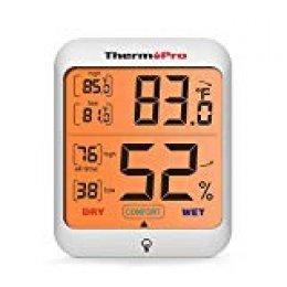 ThermoPro TP53 Termómetro Higrómetro Digital, Medidor de Interior Humedad y Temperatura con Retroiluminación, Termohigrómetro Monitor de confort en el Hogar