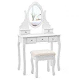 SONGMICS Tocador con Espejo, Mesa para Maquillaje, con Taburete y Cajones, Blanco RDT09W