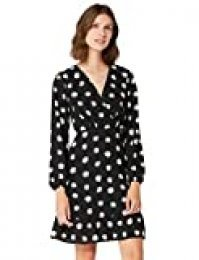 Marca Amazon - TRUTH & FABLE Vestido Corto Evasé de Gasa Mujer, Multicolor (Daisy Print), 34, Label: XXS