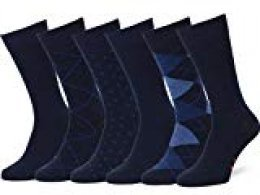 Easton Marlowe 6 PR Calcetines Sutilmente Estampados Hombre - 6pk #4-4, Azul - 43-46 talla de calzado UE