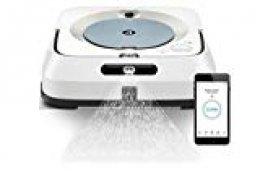 iRobot Braava m6134: Robot fregasuelos con WiFi, pulverizador a presión y navegación Superior Áreas Grandes, Friega y Pasa la mopa Recarga y reanudación automática programable por App, Blanco