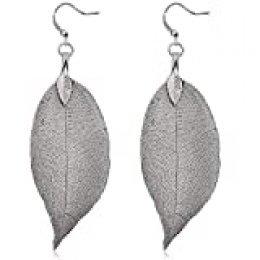 Gleamart - Pendientes largos con hojas de filigrana, ligeros, chapados en metal Negro