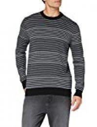 Marca Amazon - MERAKI Jersey Rayado de Algodón con Cuello Redondo Hombre, Negro (Black/Mid Grey Marl), L, Label: L