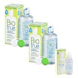 BIOtrue 54085029 - Solución de Mantenimiento Lentes de Contacto, Pack 2 botellas x 300 ml y 60 ml más de regalo