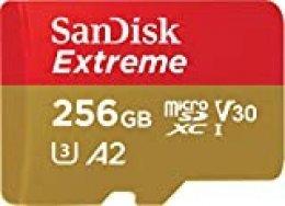 SanDisk Extreme - Tarjeta de memoria microSDXC de 256GB con adaptador SD, A2, hasta 160MB/s, Class 10, U3 y V30