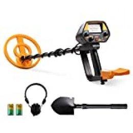 FLOUREON Detector de Metales, Alta Sensibilidad Ajustable, 3 Modos de Busca, Bobina Impermeable para Niños, Adultos y Profesionales, Pala Plegable, Auriculares