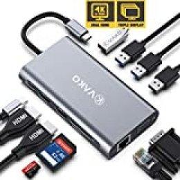 VaKo Hub USB C a HDMI 12 En 1 Pantalla Triple Adaptador Dual 4K-HDMI, VGA,Type C PD, 4 USB Ports, Gigablit Ethernet RJ45, Lector de Tarjetas SD/TF portátil USB Type-C para Macbook, iMac y más