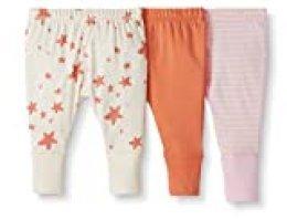 Moon and Back de Hanna Andersson - Pack de 3 pantalones de chándal de algodón orgánico para bebé, Rosado, 0 messes (49 CM)