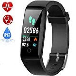 HETP Pulsera de Actividad, Reloj Inteligente con Pulsómetro y Presión Arterial Relojes Deportivos GPS Impermeable IP67 Monitor de Ritmo Cardíaco Actividad Pulsera Mujer Hombre Reloj Fitness Podómetro