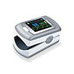 Beurer PO80 Pulsioxímetro de dedo para medir la saturación de oxígeno (SPO2) en la sangre y el pulso, pantalla LED y operación de un solo toque, color blanco y plata