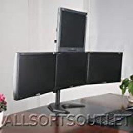 """2017Quad cuádruple 4pirámide (3+ 1) LCD LED TFT Monitor del ordenador soporte de escritorio para pantalla plana–totalmente ajustable de pie Heavy Duty 3pantallas de 15""""a 25"""""""